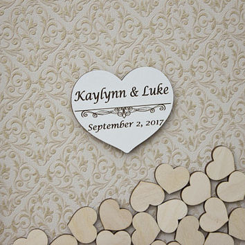 Personalzied Wooden Heart,Wedding Wooden hearts,Wedding Heart Sign,Rustic Wooden Heart,Guest Book Hearts,Wedding Guest Book Drop Heart