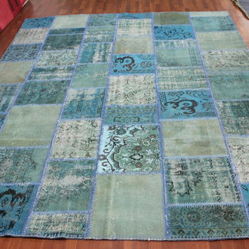 Overdyed Handmade Turkish Patchwork Carpet (Turquoise-Blue)  - Vintage Overdyed Turkish Rug- (254 X 325 cm)(8,3 ft X 10,6 ft)