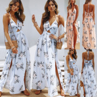 Sexy Printed Backless Bowknot Dress