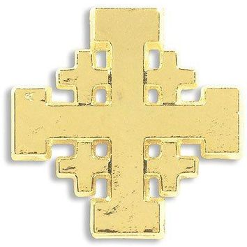 Religious Christian Mens Womens Gift 34 Inch Gold Tone Jerusalem Crusaders Cross Lapel Pin Fashion Accessory