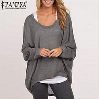 ZANZEA Oversized Women Casaul Solid Blouse 2017 Spring Ladies Long Batwing Sleeve O neck Loose Blouses Shirts Plus Size Blusas