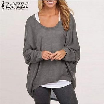 ZANZEA Blusas 2017 Women Blouses O neck Batwing Long Sleeve Casual Loose Solid Shirts Spring Autumn Top Plus Size S-3XL 9 Color