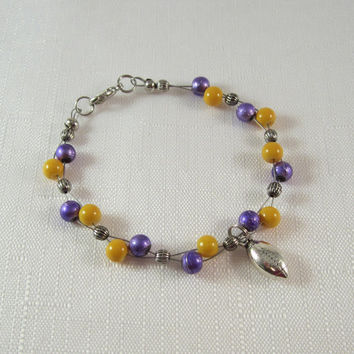 LSU Tigers, Purple and Gold Bead Bracelet