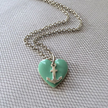Heart at Sea Necklace by SBC Mint Teal Epoxy Heart Sterling Silver Anchor Antique Silver Chain Made to Order