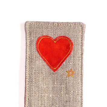 Red heart bookmark. Lovely small gift for a friend. Embroidered heart design on natural linen, vibrant red fabric back. Made in England.