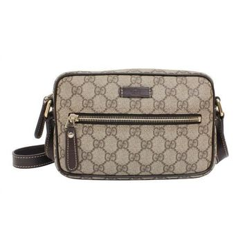 Gucci Supreme GG Canvas and Leather Small Crossbody Shoulder Bag 201447