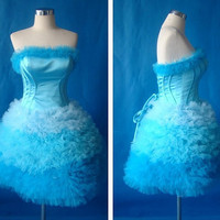 Ball gown Strapless Sleeveless Short/Mini Satin Tulle Fashion Prom Dresses/Wedding Dress/Cocktail Dress Pleated With Free Shipping