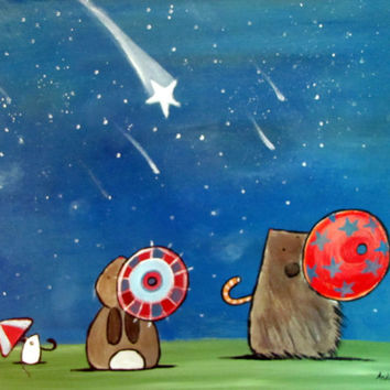 Woodland Nursery Wall Art Shooting Stars and Umbrellas Cute Kids Room Decor
