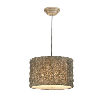 Knotted Rattan Brown 3 Light Drum Pendant