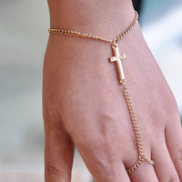 Gold Cross Hand Chain - Default Title