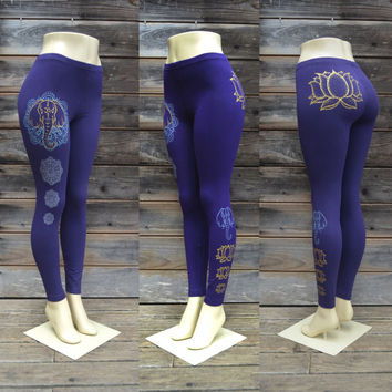 Om Elephant Mandala Leggings - Glow in the Dark - Gold Lotus Flower - Sacred Geometry - Yoga Wear