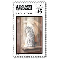 Cat in a Window Postage Stamp from Zazzle.com