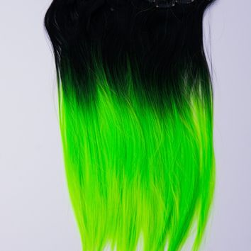 Ombré Lime Green Dip Dyed 7pcs Straight Clip-In Hair Extensions
