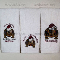 English Bulldog Christmas Holiday Set Of 3 Holiday Hand Towels