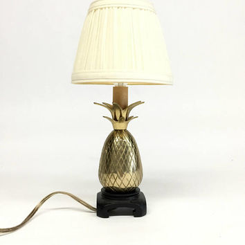 Brass Pineapple Lamp, Brass Lamp, Pineapple Lamp, Hollywood Regency Lamp, Tropical Decor, Candlestick Lamp, Nightstand Lamp
