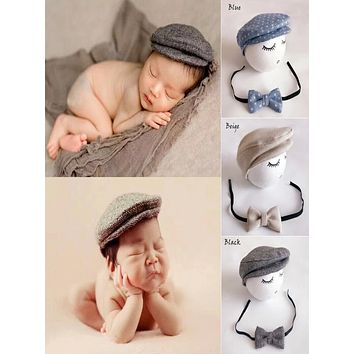 Cute Baby Boys  Newborn Formal Peaked Beanie Cap Hat + Bow Tie Photo Photography Prop Outfit