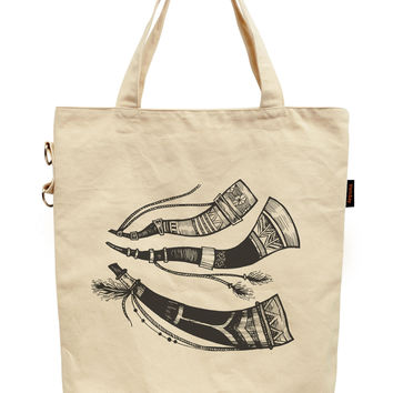 Doodle Tribal Hunting Horns Printed Canvas Tote Shoulder Bag WAS_40