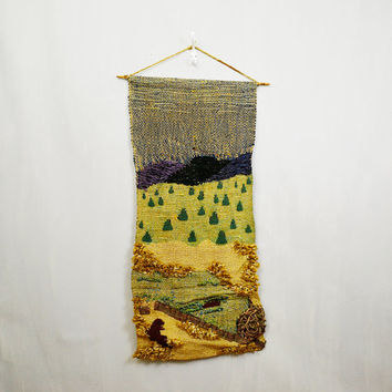 1970's Pastoral Mountain & Beaver Scene Woven Wool Wall Hanging