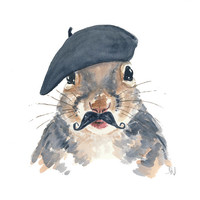 French Squirrel Watercolor Print - French Beret, Gray Squirrel Painting, 5x7 Print
