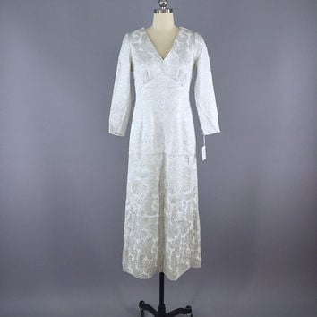 Vintage 1960s Dress / 60s Brocade Maxi Dress / 1960 Wedding Dress / Silver White Brocade Dress / Mad Men / Size Small S 4