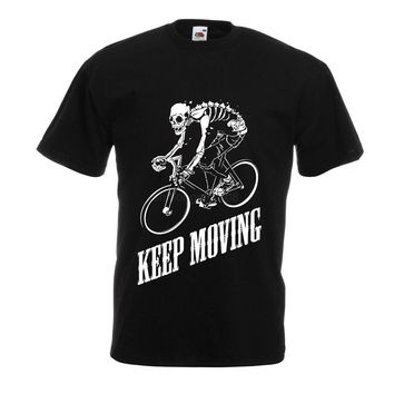 Mens t shirts Keep moving, gymer clothing, biker t-shirt, bicycle riders clothes Men'S High Quality Custom Printed Tops Hipster