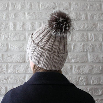 Fur pom pom hat, Beige hat, Cashmere merino blend hat, Warmest winter hat, Fur bobble hat, Rib knit hat, Fox fur pom pom, Knit hat with brim