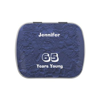 Dark Blue Dolls Candy Party Favor 65 Years Young Jelly Belly Candy Tin