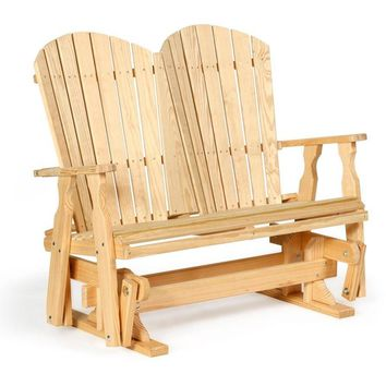 Leisure Lawns Amish Made Yellow Pine 4' Fan-Back Glider Model #340 - Ships FREE within 2 to 3 Weeks