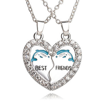 New Best Friend Necklace Forever Friendship Pendants Lovers Necklaces Heart Charm Pendent Fmen Women BFF Jewelry Collier-Christmas gifts