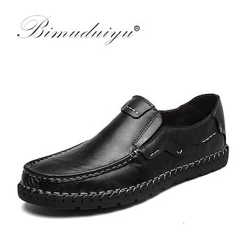 Luxury Men  Fashion Handmade Moccasins Cow Leather Men Flats Black Shoes Slip-on Casual Shoes For Men