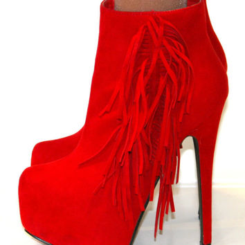LADIES SIZE 8 RED SUEDE FRINGED ANKLE BOOT CONCEALED PLATFORM STILETTO HEEL SHOE