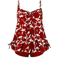 Women's fashion sexy large size red print one-piece swim suit Hawaiian Bali beach style tube top bikini set clothing 2019 #40