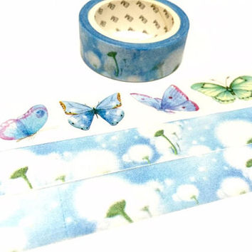 dandelion washi tape 7M wild white flower countryside flower sticker tape blue sky summer garden scenery nature scenery deco masking tape