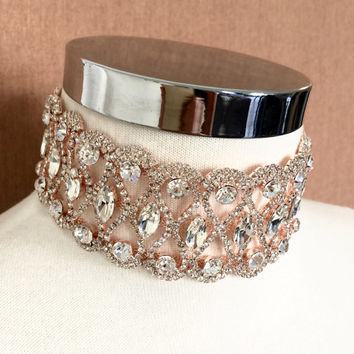 Rose gold Crystal Choker, Rose gold Thick Rhinestone Choker