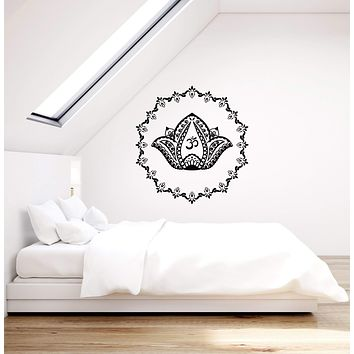 Vinyl Wall Decal Mandala Lotus Om Symbol Hinduism Home Decor Art Stickers Mural (ig5656)