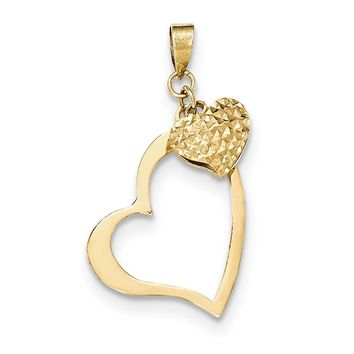 14k Yellow Gold Open Heart and Puffed Heart Pendant, 17mm