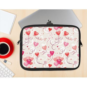 The Pink, Red and Tan Heart Balloon Pattern Ink-Fuzed NeoPrene MacBook Laptop Sleeve