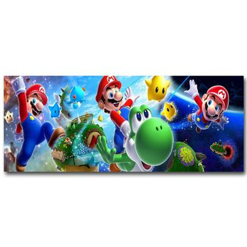 Super Mario party nes switch  Galaxy Art Silk Fabric Poster Print 13x32 24x60 inch Vedio Game Pictures for Living Room Wall Decoration Yoshi 071 AT_80_8