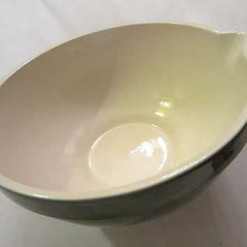 Green Ceramic Mixing Bowl Folk Art Pottery White Interior