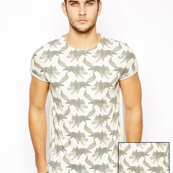 ASOS T-Shirt With All Over Fox Print And Roll Up