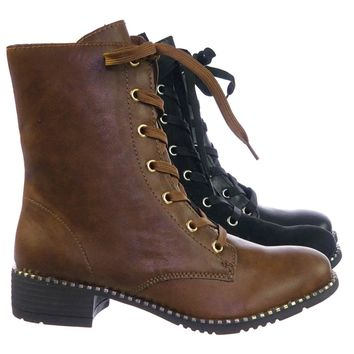 Bonfire07 Faux Fur Lined Lace Up Military Combat Bootite w Metal Detail On Welt