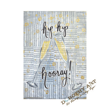 hip hip hooray, art print, champagne painting, champagne art, bar cart art, bar art, hip hip gifts, champagne flutes, champagne toasts,
