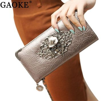 2018 Hot Fashion Metal Skull Pattern PU Leather Long Wallets Women Wallets Portable Casual Lady Cash Purse Card Holder Gift