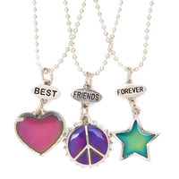 Best Friends Mood Heart, Star and Peace Sign Pendant Necklaces Set of 3