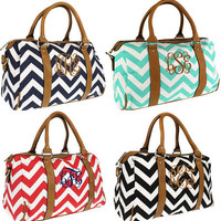 Monogrammed Chevron Satchel Purse