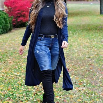 * Wild And Free Long Cardi: Navy