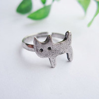 lovely cat ring--cat pendant,antique silver ring,alloy ring