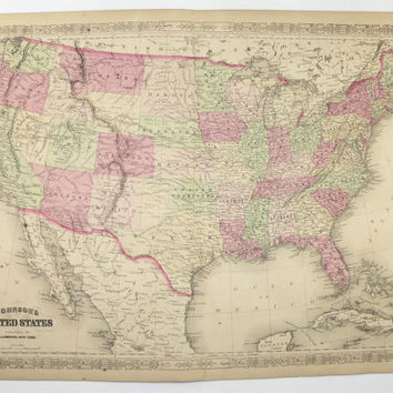 Antique United States Map 1867 Johnson Map, USA Vintage Map, US Art Map, Unique Wedding Gift for Couple, US Travel Map, Office Wall Art