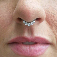 14 Gauge Crystal Septum Ring Clicker Bull Ring Nose Piercing