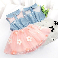 Baby Girls Kids Princess One-pieces Denim Jeans Dresses Vest Tulle Skirt Clothes = 1930323716